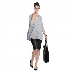 Atherton Rib Maternity Top in Grey Melange