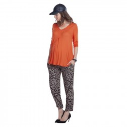 Atherton Rib Maternity Top in Burnt Coral