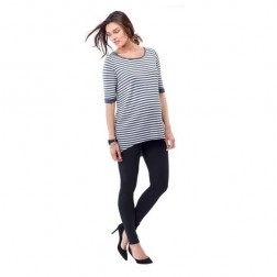 Elie Striped Maternity Top in Grey Melange