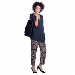 Hutton Relaxed Maternity Pant in Animalistic Print