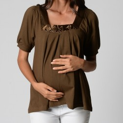 Silk Trim Drape Top - Chocolate