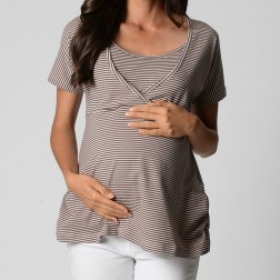 Relaxed Wrap Top - Natural Stripe