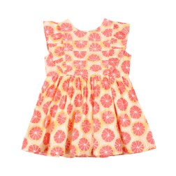 Bebe by Minihaha Hattie Grapefruit Print Pintuck Dress